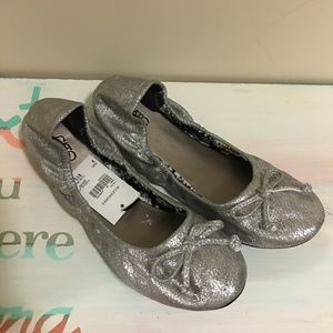 Cato Scrunched Flats - Silver - 9 - NEW